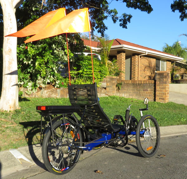 Recumbent Trike Visibility is enhanced by flags