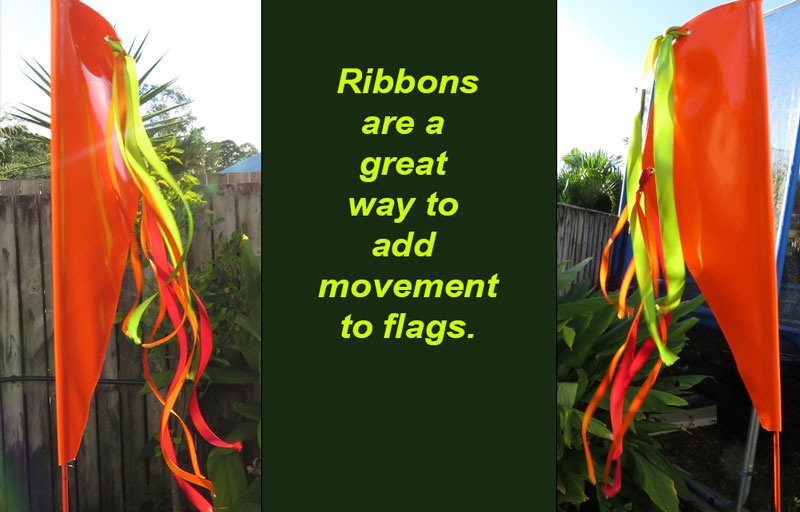 Ribbons add movement to high visibility flags
