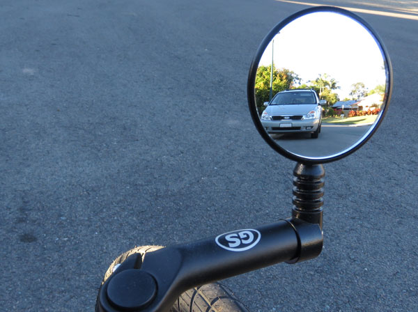 Mirrors allow riders to see what's happening behind them