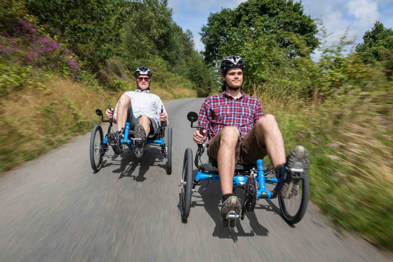 Ride with friends on a recumbent trike.